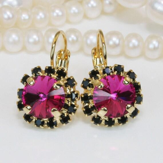 d1d68cbf0 Fuchsia Black earrings Pink Black Drop Earrings Magenta | Etsy