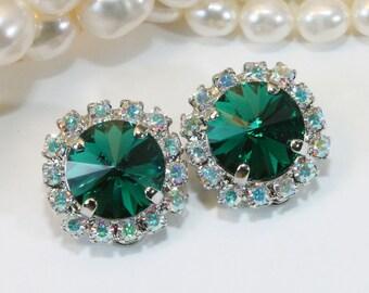 Emerald Green Clip On Earrings Swarovski Crystals Emerald Green Bridal Bridesmaids Clip earrings AB Halo Emerald Wedding,Silver,Emerald,SE97
