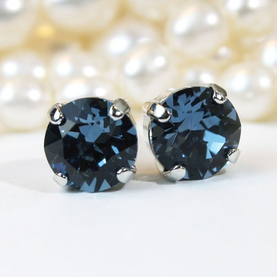 Navy Blue Stud Earrings,Navy Swarovski Crystal Studs Denim Blue post  earrings Navy 8mm single Stone Navy Wedding,Silver finish,Montana,SE1