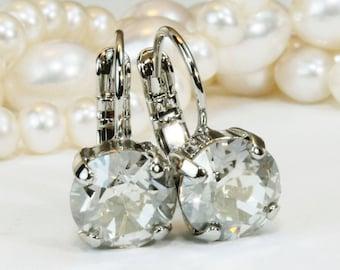 Grey Earrings Grey Drop Swarovski Crystal Earrings Grey Wedding Grey 8mm Single Stone Grey Bridesmaids Gift,Silver finish,Silver Shade,SE2