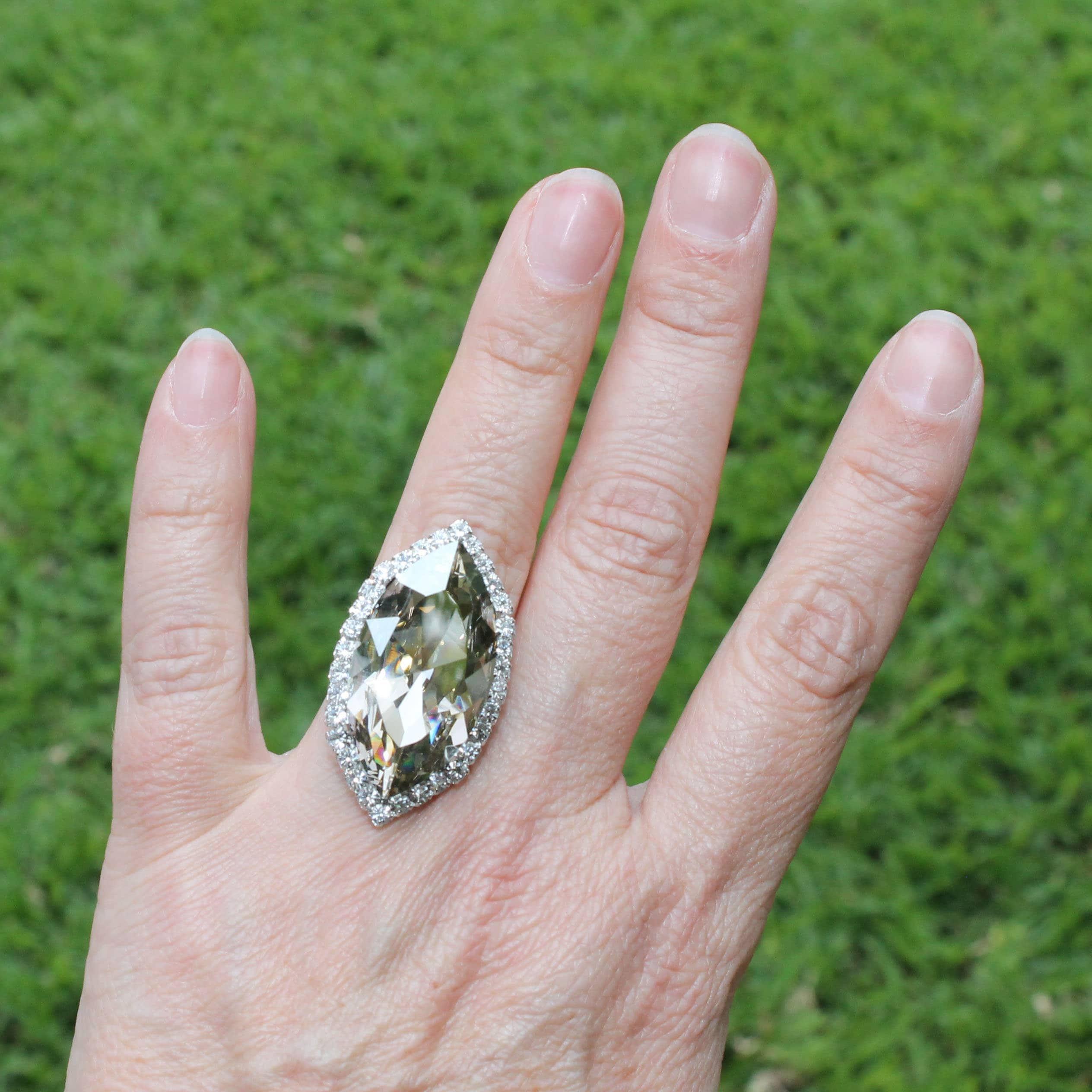 Gorgeous Statement Paint Pour Ring Adjustable Greens and Gold