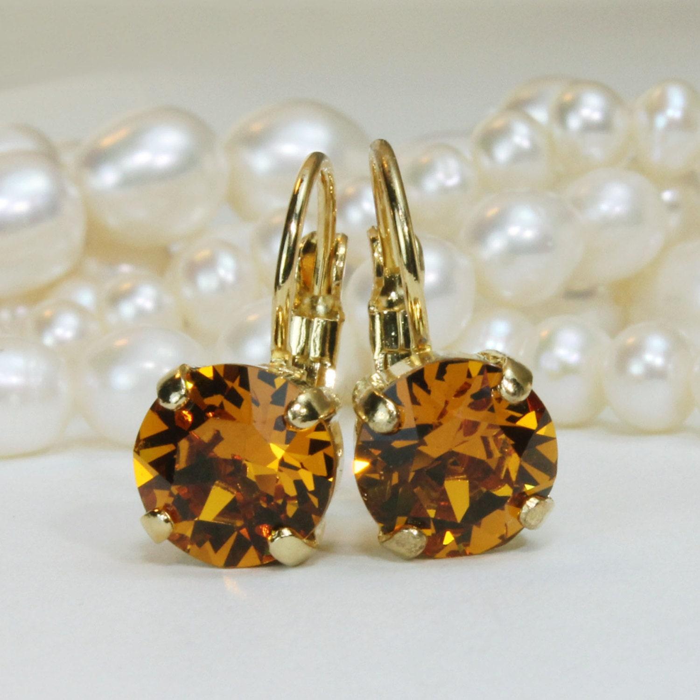 Topaz Earrings Yellow Topaz Swarovski Crystal Drop Crystal ...