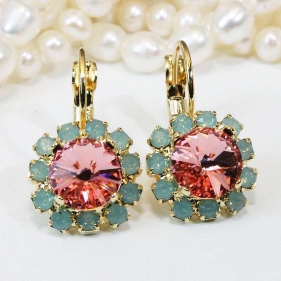 Mint, Koralle Ohrringe Mint Coral Hochzeit Gold Swarovski Kristall grün Opal Rivoli rosa Pfirsich Tropfen Halo Brautjungferngeschenk, Gold, Rose