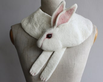 Rabbit - felted wool animal scarf