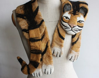 Tiger - felted wool animal scarf / stole