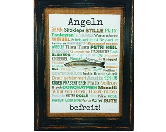 Fishing relaxes! Print Poster A4 Gift AnneSvea Fishing