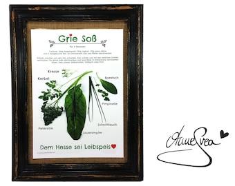 Green Sauce Poster Recipe A4 AnneSvea Decoration Kitchen
