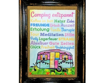 Camping relaxes! Poster Caravan Print Bus present Camper Din A4 AnneSvea Vanlife Van Mobilehome decoration RV