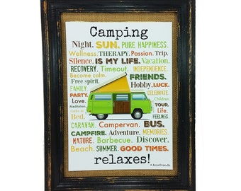 Camping relaxes! Poster english Print Bus present Camper Din A4 AnneSvea Vanlife Van caravan Mobilehome decoration RV
