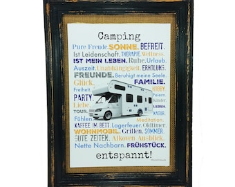 Camping relaxes! Poster Print Mobilehome Bus present Camper Din A4 AnneSvea Vanlife Van caravan decoration RV