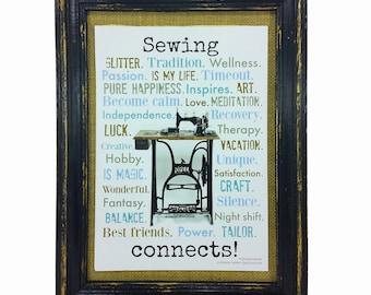 Sewing connects! Print Poster DinA4 english Sewing Machine AnneSvea Decoration Interior Home Present friend #nähenverbindet