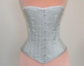 "Readymade Mid-Victorian Hourglass Corset- 25"" Natural Waist, Blue-Silver Dupioni Silk"