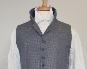 "Regency Waistcoat- 44"" Chest, Turned Down Lapel, Blue Diamond Cotton Jacquard"