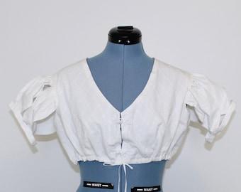 """Regency Summer Spencer, 42"""" Bust, White Embroidered Floral Print, Petal Sleeves"""