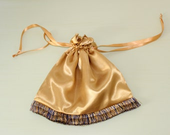 Reticule Pouch With Fringe, Gold Satin