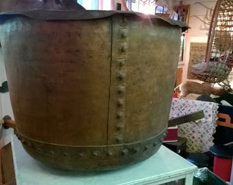 Antique Industrial Hot Rivet Hammered Copper Apple Butter Kettle Pot Country Primitive 1850s