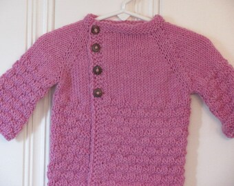 Little Girl's Hand Knit Cardigan, Pink Heather with asymmetrical closure- Baby Girl's Hand Knit Cardigan