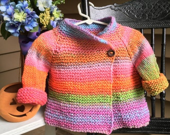 Little Girl's Hand Knit Cardigan, Multi color with asymmetrical closure- Hand Knit Cardigan Jacket