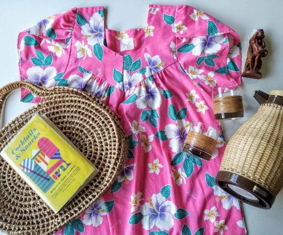 Vintage Hawaiian Pink Maxi Dress Floral Flowers Ha