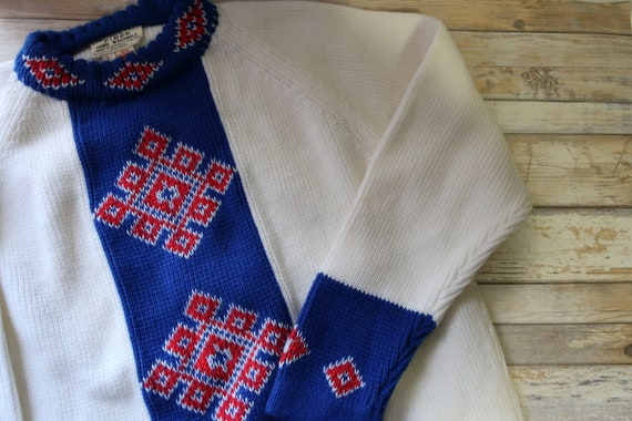 Vintage Sweater Red White Blue Acrylic Republic of