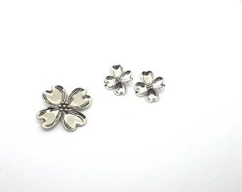 BEAU Dogwood Brooch Earring Set Sterling Silver Vintage