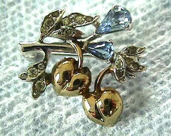 Vintage Fruit Pin Rhinestones Blue Two Tone Sweet