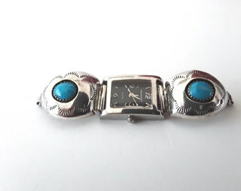 Turquoise Signed Watch Wrist Shadowbox Sterling Silver Stampings NA Vintage