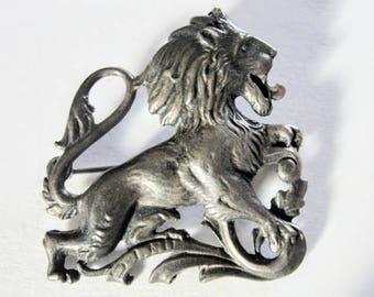CINI Lion Leo Brooch Pin Sterling Silver Zodiac Astrology Vintage