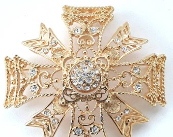KJL Maltese Cross Reversible Brooch Vintage Pendant Openwork Kenneth Jay Lane
