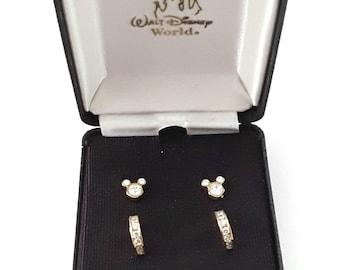 Walt Disney World Earrings Two Pair Minnie and Crystal Hoop Studs in Original Embossed Box