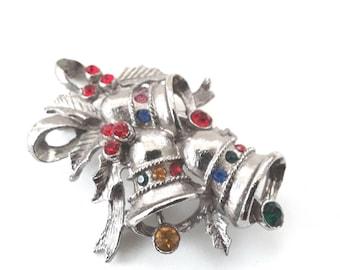 Beatrix Bell Pin Vintage Christmas Rhinestones Ribbon Holly