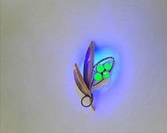 GLOWS Green Flower Pin Vintage Rhinestones Large Uranium Vaseline Glass