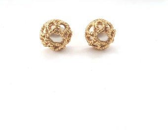 Carolee Pearl Earrings Faux Clip Ons Vintage
