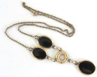 Black Onyx Necklace Gold Filled Vintage Pretty Rope Chain