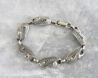 Signed Filigree Bracelet Sterling Silver Vintage