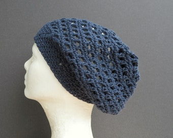 summer slouchy hat/ denim blue cotton crochet