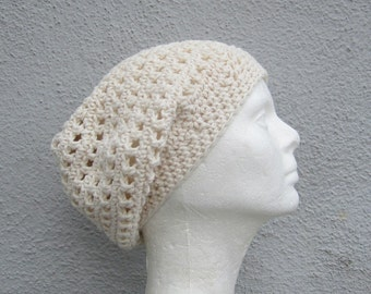 cotton kundalini hat/ off-white cream crochet
