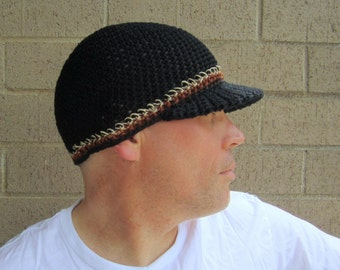 90da10372ae men s summer visor beanie  black cotton linen hemp crochet