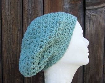summer slouchy hat/ soft mint cotton crochet
