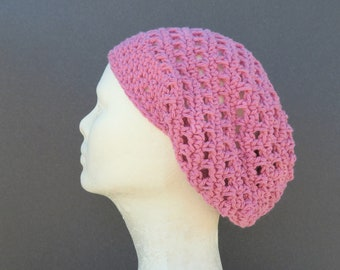summer slouchy hat/ dusty rose cotton crochet