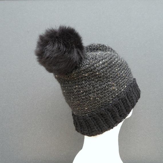 Pom Pom Mütze Schwarze Kohle Tweed Gerippten Bündchen Häkeln Etsy