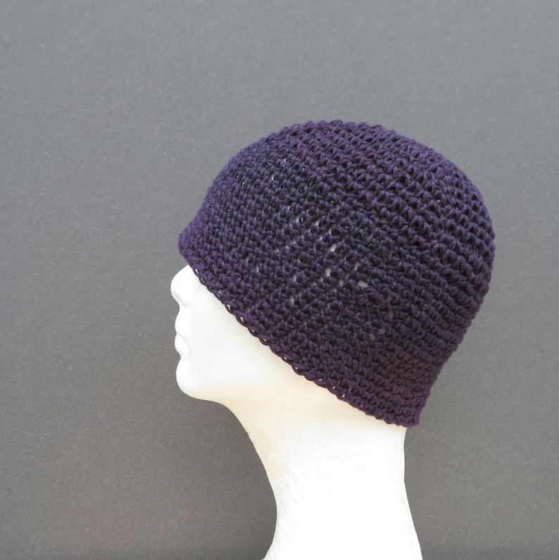 men/'s hemp kufi plum purple crochet
