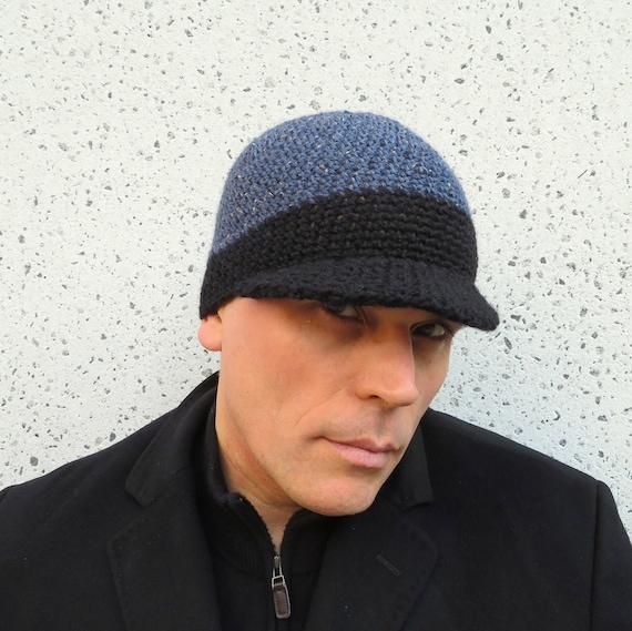 Herren Visier Mütze Blau Schwarz Tweed Wolle Häkeln Etsy