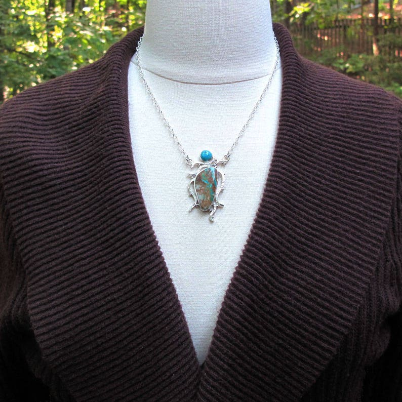 Blue and Brown Stone Dramatic Colorful Royston Nevada Turquoise Necklace Colorful American Turquoise Necklace Ribbon Turquoise