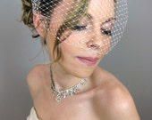 Weddings Bridal Accessories Crystals Touching Birdcage Veil (Free U.S. Shipping) - blusher veil, ivory, white, black, red