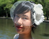 Weddings Birdcage Veil with Flowers - Blusher Veil, Mini Veil, Bridal Veil, Wedding Veil, White, Ivory, Habiscus