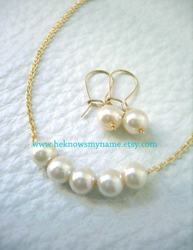 Wedding Party Bridesmaids Jewelry Gift Ideas Girl Friend Pearl Necklace And Earrings In Gift Box Free U S Shipping