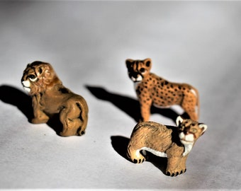62bbfd36bd50 Lion-Cougar-Cheetah-Choose 1 style-Miniature ceramic lion-terrarium  supplies-with or without a wire stake-Big Cats