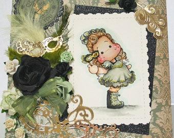 Magnolia Masquerade Tilda Any Occasion Card OOAK