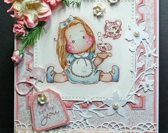 Magnolia Tea Time Tilda Any Occasion/Mother's Day Card-OOAK